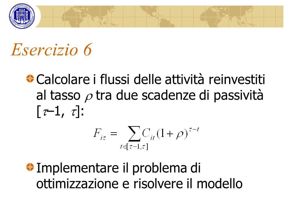Esercizio 6 Calcolare i flussi delle attività reinvestiti al tasso  tra due scadenze di passività [–1, ]: